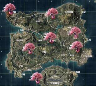 和平精英2020情人节樱花树具体位置在哪